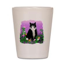 Tuxedo Cat on Lavender Shot Glass