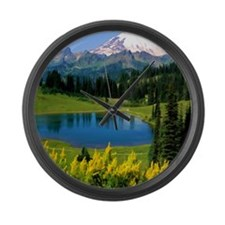 Snow Covered Alpine Peaks and Lak Large Wall Clock
