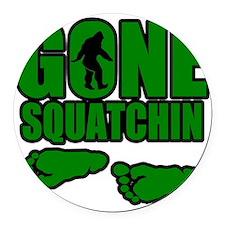 Gone Squatchin green footprints Round Car Magnet