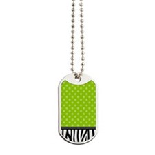 Zebra Polka Dots Lime Green Dog Tags