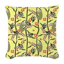 Tropical Sloth Woven Throw Pillow
