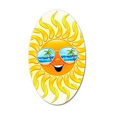 Summer Sun Cartoon with Sung 35x21 Oval Wall Decal