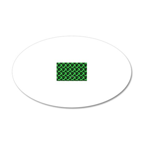 Dog Paws Green 20x12 Oval Wall Decal