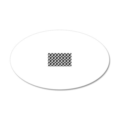 Black Dog Paws on White 20x12 Oval Wall Decal