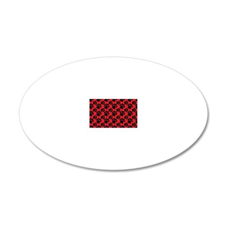 Cute Dog Paw Red Black 20x12 Oval Wall Decal