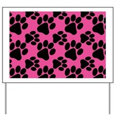 Dog Paws Bright Pink Puppy Yard Sign