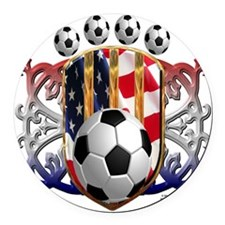 USA Soccer Power Round Car Magnet