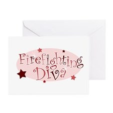 """Firefighting Diva"" [red] Greeting Cards (Package"