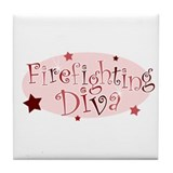 """Firefighting Diva"" [red] Tile Coaster"
