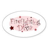 """Firefighting Diva"" [red] Oval Decal"