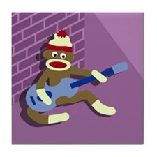 Sock Monkey Playing Blue Guitar Tile Coaster