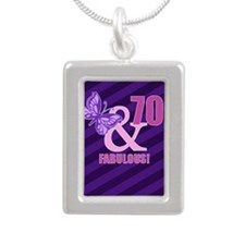 70th Birthday Butterfly Silver Portrait Necklace
