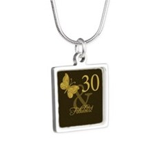 30th Birthday Butterfly Silver Square Necklace