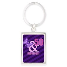 50th Birthday Butterfly Portrait Keychain