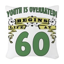 Life Begins At 60th Birthday Woven Throw Pillow