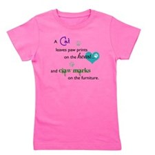 A cat leaves paw prints... Girl's Tee
