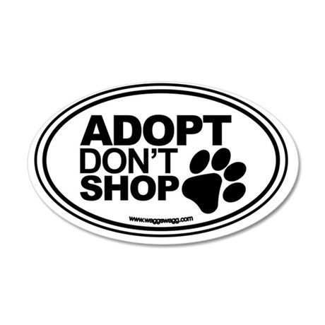 Adopt Dont Shop White-01 35x21 Oval Wall Decal