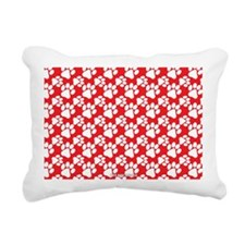 Dog Paws Red Rectangular Canvas Pillow