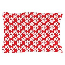 Dog Paws Red Pillow Case