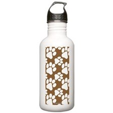 Dog Paws Brown Water Bottle