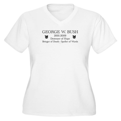"George W. Bush ""Obituary"" Womens Plus Size V-Neck"