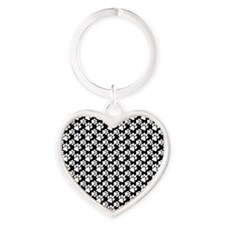 Dog Paws Black Heart Keychain
