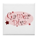 Gamer Diva [red] Tile Coaster