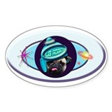 PUG PRINT cute products! Oval Decal