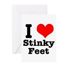 I Heart (Love) Stinky Feet Greeting Cards (Package