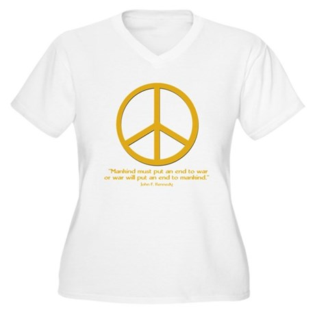 JFK w Orange Peace Sign Women's Plus Size V-Neck T