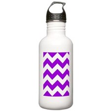 Purple and White Chevr Water Bottle