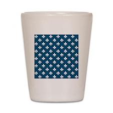 fleur de lis square white nautical blue Shot Glass