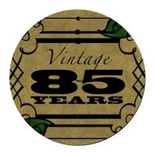 Vintage 85th Birthday (Gold) Round Car Magnet