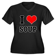 I Heart (Love) Soup Women's Plus Size V-Neck Dark