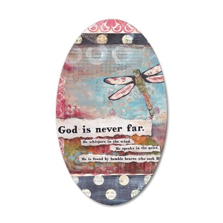 God is Never Far 35x21 Oval Wall Decal