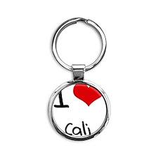 I Love Cali Round Keychain