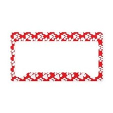 Dog Paws Red-Small License Plate Holder