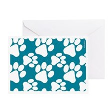 Dog Paws Teal Greeting Card