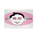 Pink In One Ear Rectangle Magnet (10 pack)