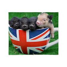 Tea Cup Piggies Throw Blanket