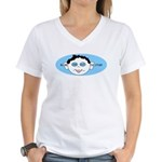 Blue In One Ear Women's V-Neck T-Shirt