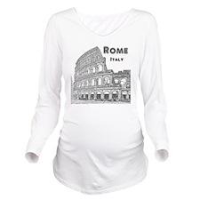 Rome_10x10_v1_Black_ Long Sleeve Maternity T-Shirt