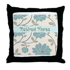 retired nurse blue flower pillow Throw Pillow