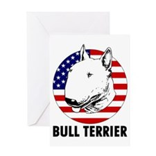 Bull Terrier USA flag Greeting Card