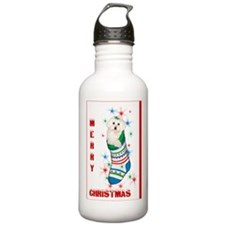 Bichon Christmas Card Water Bottle