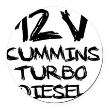 12 V Cummins Turbo Diesel Round Car Magnet