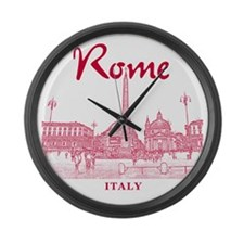 Rome_10x10_v1_Red_Piazza del Popo Large Wall Clock