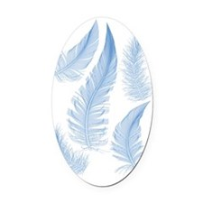 blue feathers, vector drawing Oval Car Magnet