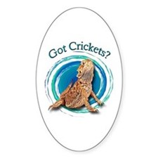 Bearded Dragon Got Crickets II Oval Decal