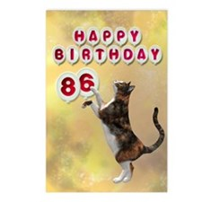 86th birthday with a cat Postcards (Package of 8)